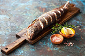 Grilled whole humpback salmon fish