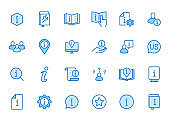 Information line icon set. Privacy policy, manual, rule, instruction, inform, guide, reference minimal vector illustration. Simple outline sign tutorial app ui. Blue color, Editable Stroke