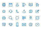 Contact us line icon set. Feedback, customer service, phone, email address, web site minimal vector illustration. Simple outline sign business card, landing page. Blue color, Editable Stroke