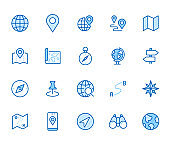 Location line icon set. Compass, travel, globe, map, geography, earth, distance, direction minimal vector illustration. Simple outline sign navigation app ui. Blue color, Editable Stroke