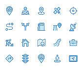 Location line icon set. Gps, proximity, road map, gas station, work destination, place marker minimal vector illustration. Simple outline sign navigation app ui. Blue color, Editable Stroke