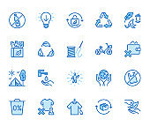 Zero waste lifestyle flat line icons set. Refuse, reduce, reuse, recycle, leaves circle, save water, planet, eco tourism vector illustration. Outline signs of ecology. Blue color, Editable Stroke