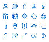 Zero waste products flat line icons set. Reusable bottle, wooden cutlery, metal straw, period pad, face mask vector illustration. Outline signs of sustainable lifestyle. Blue color, Editable Stroke