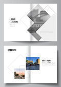 Vector layout of two A4 format cover mockups design templates with geometric simple shapes, lines and photo place for bifold brochure, flyer, magazine, cover design, book, brochure cover.