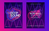 Neon electronic poster. Electro dance dj. Music sound fest. Night club event flyer. Techno party.