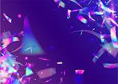 Birthday Texture. Fantasy Art. Violet Metal Tinsel. Holographic Glare. Luxury Foil. Laser Abstract Backdrop. Carnival Confetti. Retro Flyer. Blue Birthday Texture