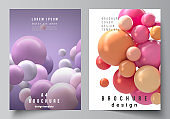 Vector layout of A4 cover mockups templates for brochure, flyer layout, booklet, cover design, book design. Abstract vector futuristic background with colorful 3d spheres, glossy bubbles, balls.
