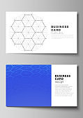 Vector illustration layout of two creative business cards design templates. Digital technology and big data concept with hexagons, connecting dots and lines, polygonal science medical background.