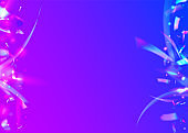 Transparent Sparkles. Modern Art. Bokeh Tinsel. Violet Party Texture. Retro Realistic Sunlight. Falling Confetti. Bright Foil. Laser Flyer. Purple Transparent Sparkles