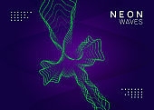 Dj event neon flyer. Techno trance party. Electro dance music. Electronic sound. Club fest poster.