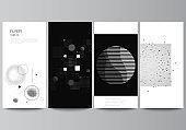 Vector layout of flyer, banner design templates for website advertising design, vertical flyer design. Abstract technology black color science background. Digital data visualization. High tech concept