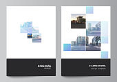 Vector layout of A4 format cover mockups templates for brochure, flyer layout, booklet, cover design, book design, brochure cover. Abstract design project in geometric style with blue squares.