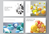 Vector layout of the presentation slides design business templates, multipurpose template for presentation brochure, report. Realistic vector background with multicolored 3d spheres, bubbles, balls.