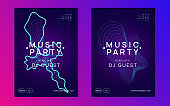Electro event neon flyer. Trance dance music. Electronic sound. Club fest poster. Techno dj party.