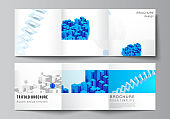 Vector layout of square covers design templates for trifold brochure, flyer, magazine, cover design, book design. 3d render vector composition with dynamic realistic geometric blue shapes in motion.