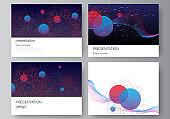Vector layout of the presentation slides design business template, multipurpose template for presentation brochure. Artificial intelligence, big data visualization. Quantum computer technology concept