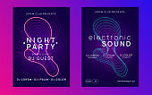 Neon dj party flyer. Electro dance music. Techno trance. Electronic sound event. Club fest poster.