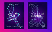 Neon electronic event. Electro dance dj. Trance sound. Club fest poster. Techno music party flyer.