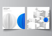 Vector layout of two square format covers templates for brochure, flyer, cover design, book design, brochure cover. 3d render vector composition with dynamic realistic geometric blue shapes in motion.