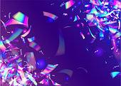 Transparent Glitter. Rainbow Tinsel. Crystal Art. Blue Shiny Glare. Fantasy Foil. Retro Christmas Gradient. Iridescent Confetti. Party Flare. Purple Transparent Glitter