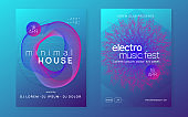 Neon trance party flyer. Electro dance music. Electronic sound. Club dj poster. Techno fest event.