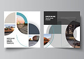 Vector layout of two square covers design template for brochure, flyer, magazine, cover design, book, brochure cover. Background with abstract circle round banners. Corporate business concept template