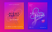 Neon edm flyer. Electro trance music. Techno dj party. Electronic sound event. Club dance poster.