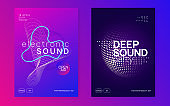 Neon sound flyer. Electro dance music. Electronic fest event. Club dj poster. Techno trance party.