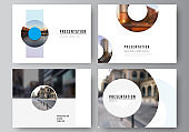 Vector layout of the presentation slides design business templates, multipurpose template for presentation brochure, cover. Background template with rounds, circles for IT, technology. Minimal style.