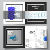 Vector layout of two covers template for square bifold brochure, flyer, magazine, cover design, book design, brochure cover. 3d render vector composition with realistic geometric blue shapes in motion