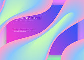 Landing page with liquid dynamic elements and fluid shapes.