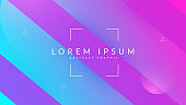 Neon Poster. Modern Banner. Liquid Pattern. Business Illustration. Hipster Paper. Blue Graphic Cover. Cool Futuristic Shape. Flat Landing Page. Violet Neon Poster
