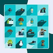 Pollution flat icons set with plant waste ocean contamination isolated vector