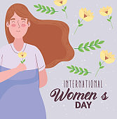 happy womens day lettering with woman lifting flower