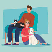 couple and pets