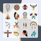 Ethnic american idigenous tribal amulets and symbols icons collection  with native feathers headdress abstract isolated vector