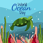 World ocean day in cartoon style on blue background with cute big green turtle, seaweed and corals.
