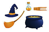 Set witch hat with broom, caldron, poison in bottle and book magic elements in cartoon style isolated on white background. Wizard equipment, fantasy costume. Halloween scary items. Vector illustration