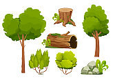 Forest nature elements landscape set with tree, stump, old trunk, bush, stone pile and moss in cartoon style isolated on white background. Ui assets, for computers game interface vector Illustrations