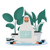 Arab man in traditional clothes sitting with laptop. Online education, freelance concept. Happy, smiling character, successful and productive in flat style.