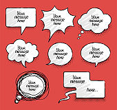 Comics message clouds collection. Hand drawn speech bubbles. Vector illustration.
