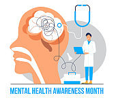 Mental health awareness month concept vector. Medical event is observed in May. Professional psychology consultation illustration. Depression, sadness info-graphics.