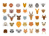 Collection of cute animal faces. Big set of cute animal heads. Vector cartoon characters.