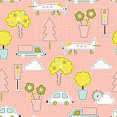 Cute City Transport and Nature Vector Seamless Pattern