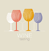 Wine tasting concept. Invitation template for an event, festival, party. Modern graphic design, poster, list, menu for restaurant, bar. Red or white wine glass.