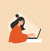 Online education, remote work, home schooling concept. Woman working or studying on her laptop in the house. Freelancer, distance learning. Girl using a computer.