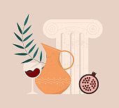 Aesthetic modern illustration of a ceramic jug with ornament, ancient greek order, glass of wine or juice, leaf and pomegranate. Decorative still life with isolated objects. Contemporary art.