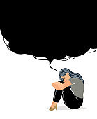 Woman with depressive thinking. Cartoon unhappy girl with confusion in brain, concept of anxious feeling