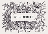 Floral label. Botanical illustration.