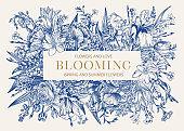 Floral frame. Blooming. Blue.